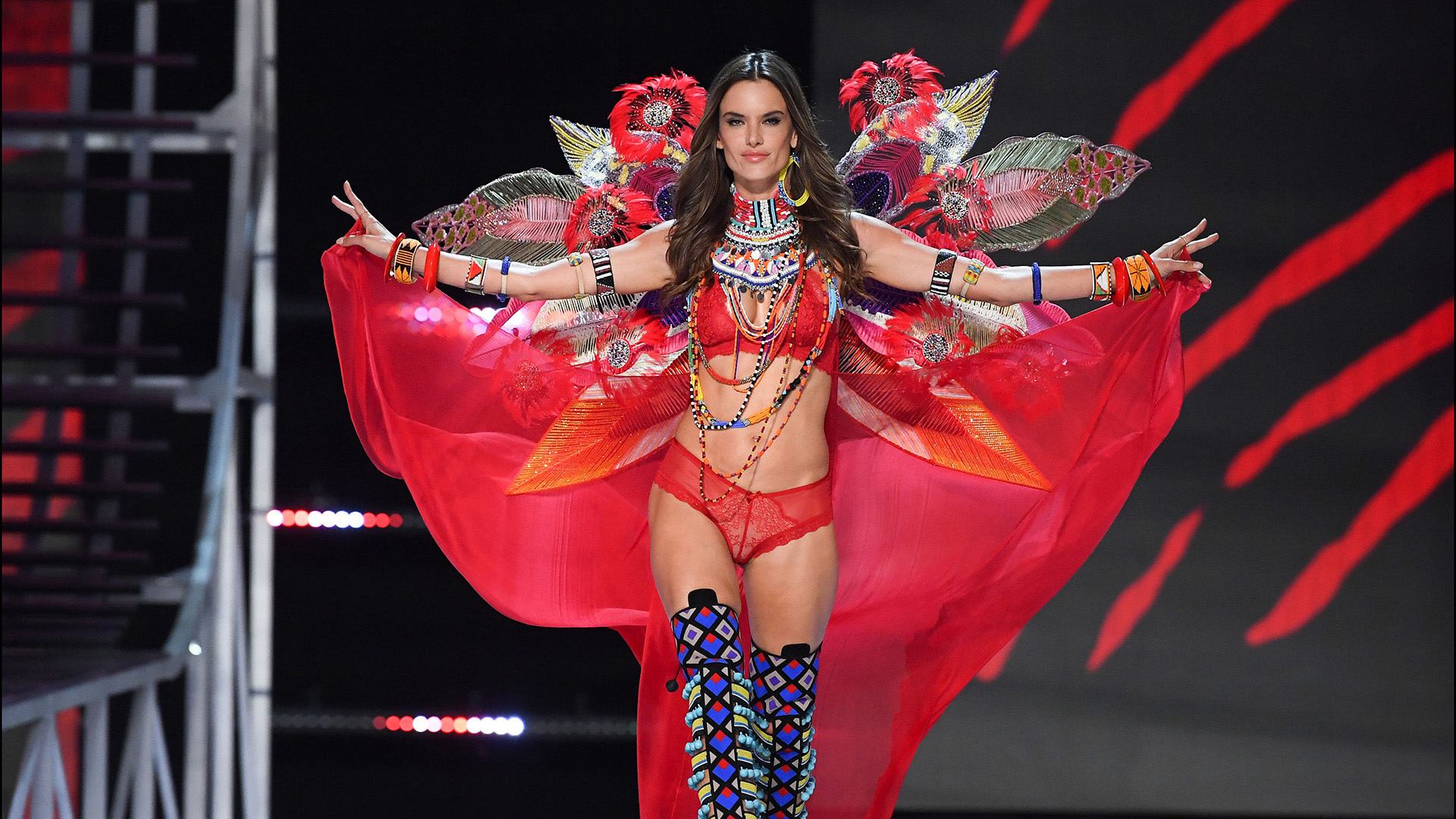 Alessandra Ambrosio is seen on stage at the Victoria