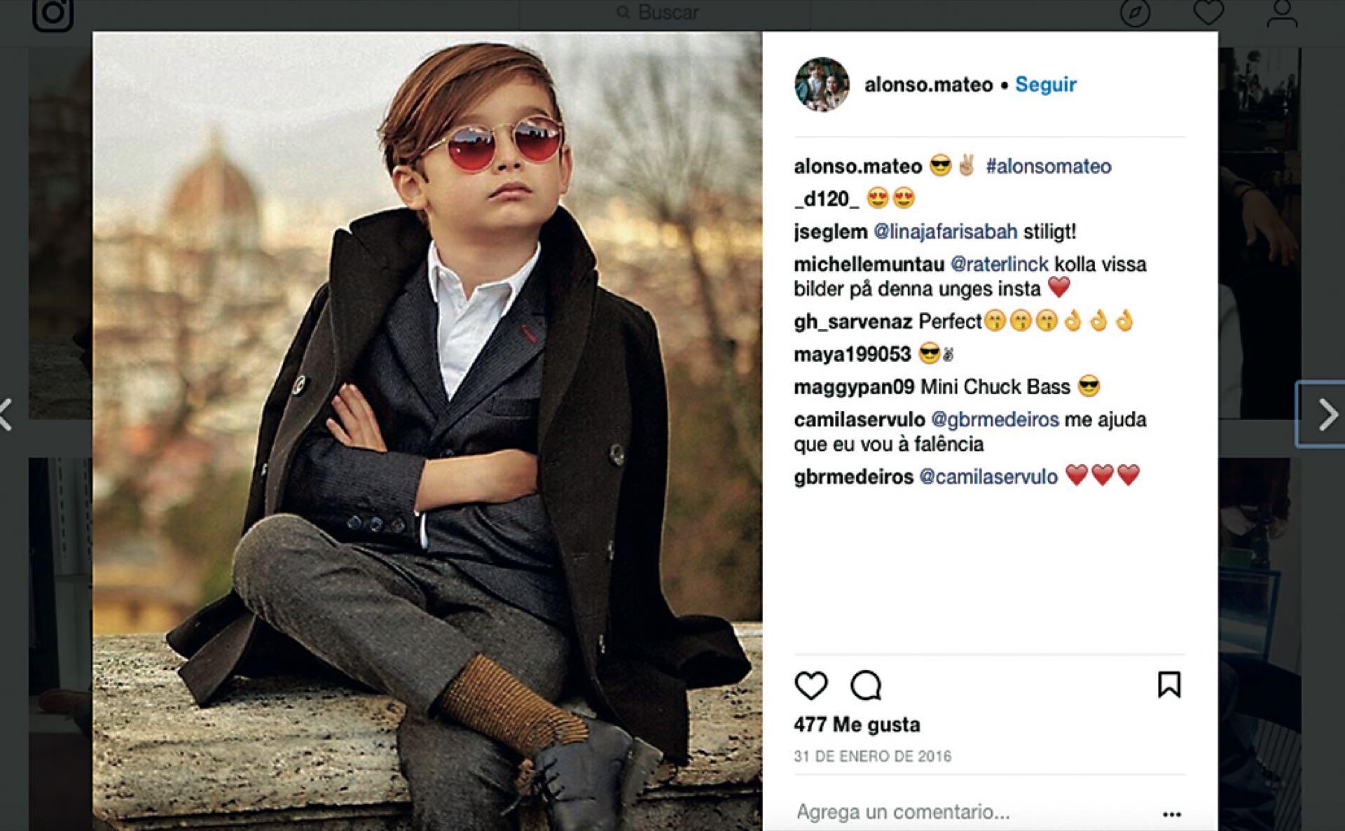 x18 millones de personas siguen la cuenta de Alonso Mateo (@alonso.mateo). Alonso lleva siempre las últimas tendencias en cortes de pelo, ropa y zapatos. Firmas como Gucci, Tom Ford, Jeremy Scott, Diesel y Dior son algunas de las marcas que usa para crear sus outfits.