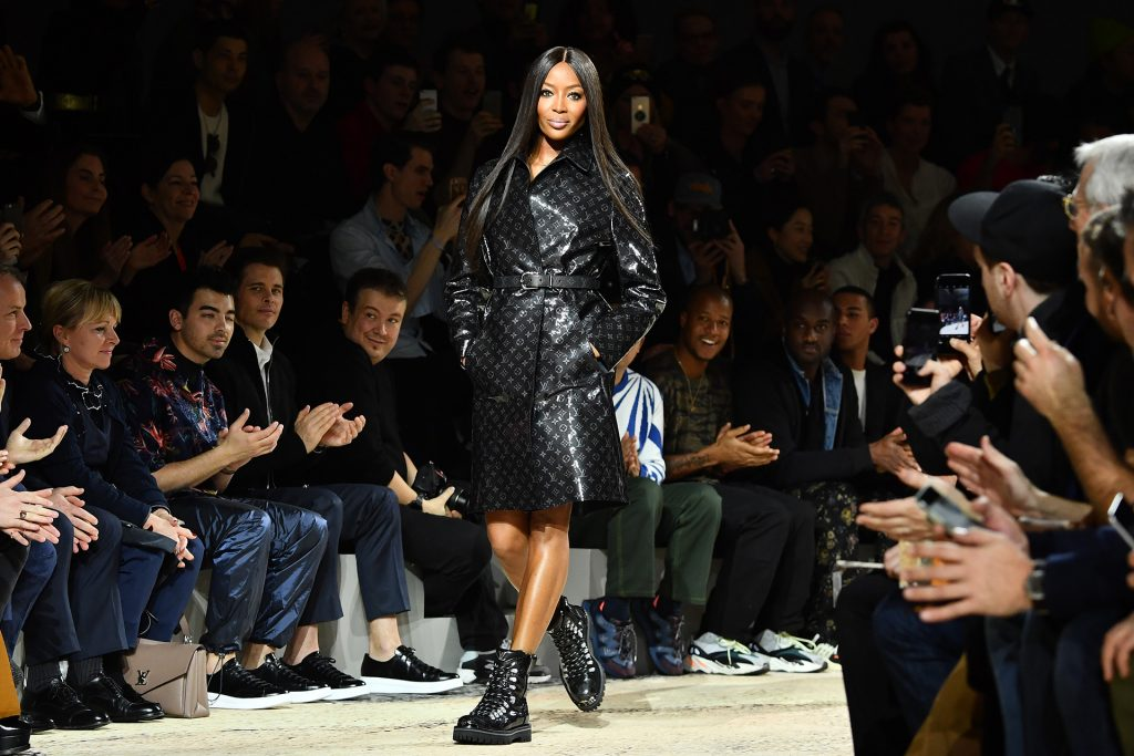 PARIS, FRANCE - JANUARY 18: Naomi Campbell walks the runway during the Louis Vuitton Menswear Fall/Winter 2018-2019 show as part of Paris Fashion Week on January 18, 2018 in Paris, France. (Photo by Pascal Le Segretain/Getty Images)