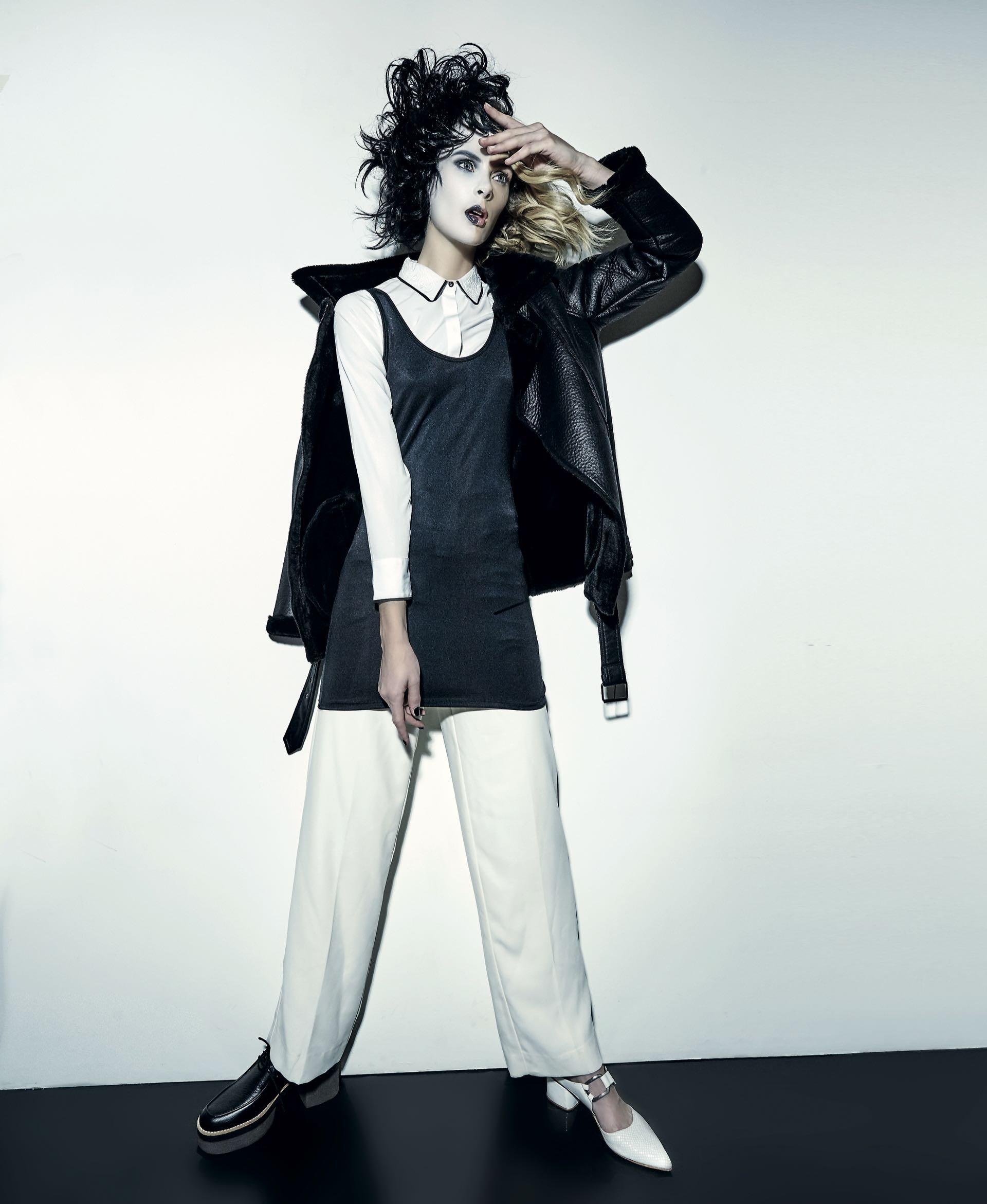 Campera de cuero con piel sintética ($ 4.200, India Style), vestido de Lycra ($ 462, Scombro), camisa con cuello bordado ($ 1.499, Yagmour), pantalón ancho de cintura alta (Vitamina), acordonado de cuero con base de goma ($ 2.700, Viamo) y zueco de cuero grabado con hebilla($ 5.200, Uma).