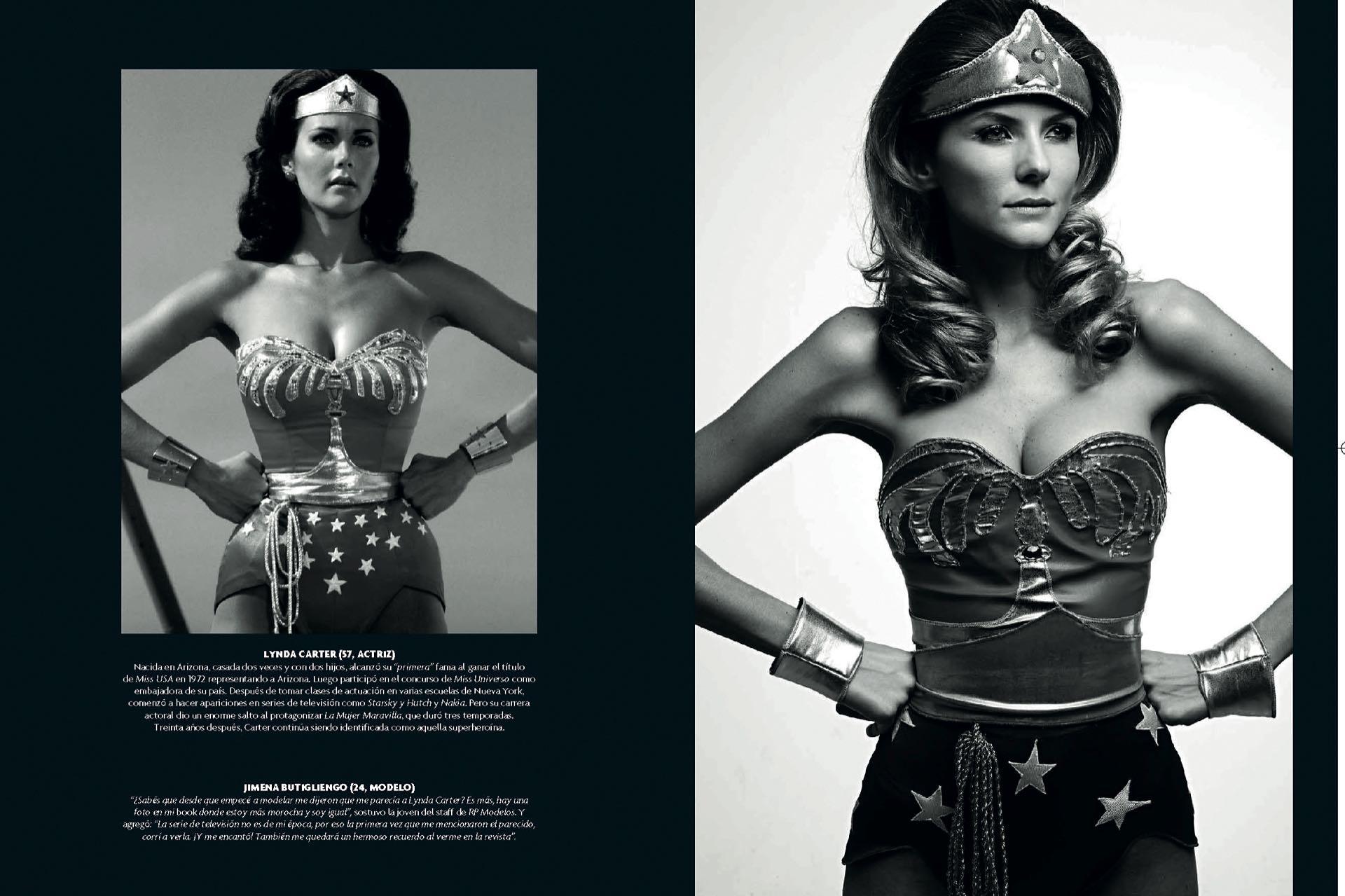 En su etapa de modelo en dos producciones de Para Ti: caracterizada como Mujer Maravilla y en notas de Moda y Tendencia.