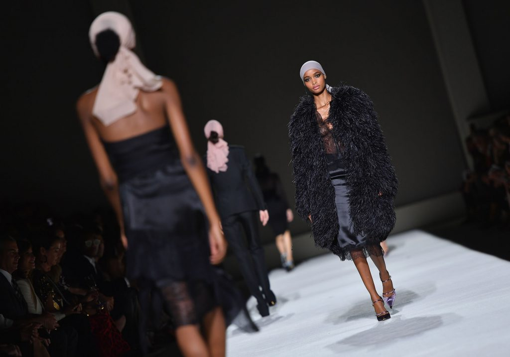 Models walk the runway at the Tom Ford SS19 Show at Park Avenue Armory in New York City on September 5, 2018. / AFP PHOTO / Angela Weiss