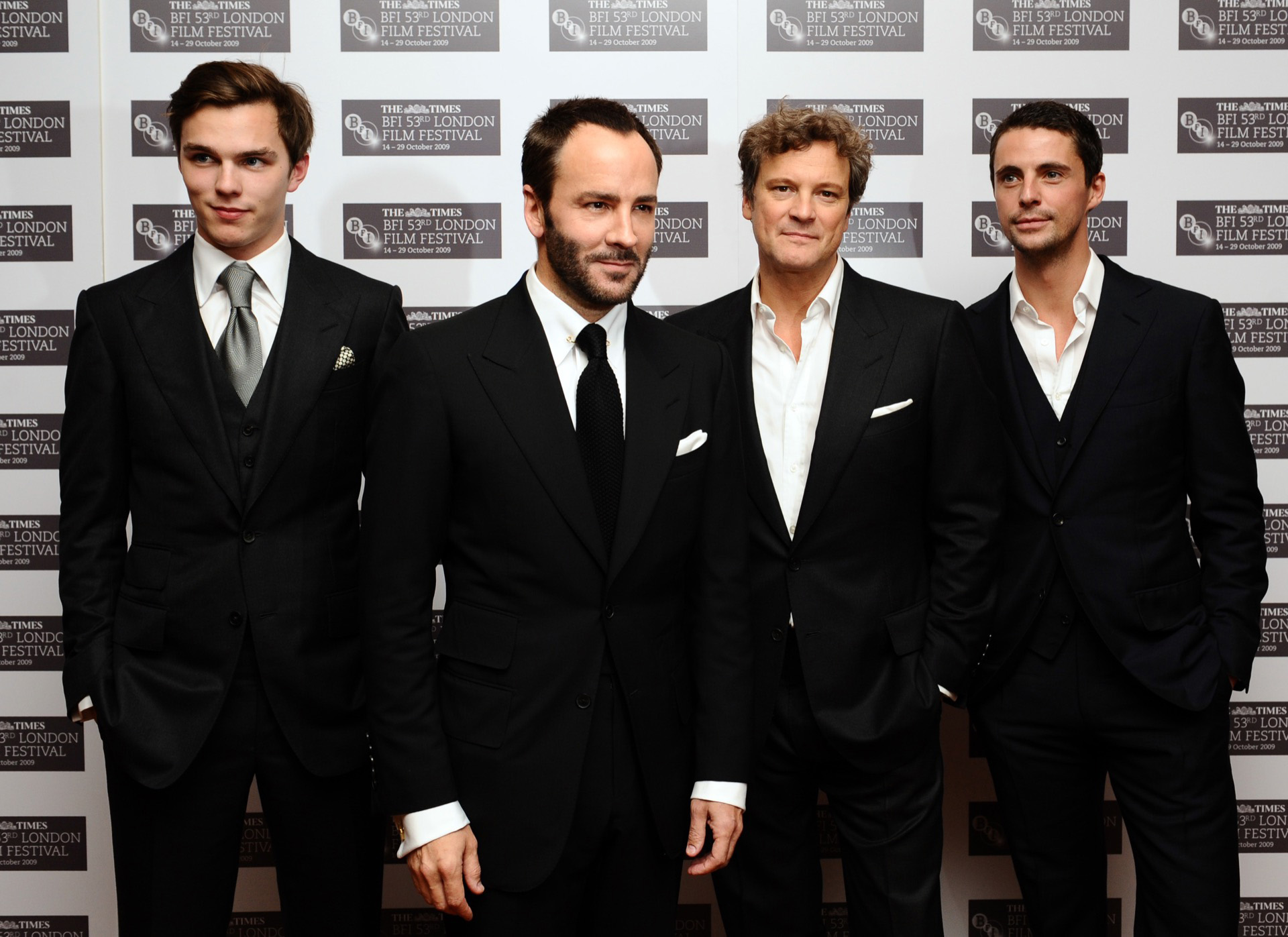 (left to right) Nicholas Hoult, Tom Ford, Colin Firth and Matthew Goode at the premiere of the new film A Single Man, at the Vue Cinema in central London, part of the Times BFI 53rd London Film Festival. Picture date: Friday October 16 2009. Photo credit should read: Ian West/PA Wire