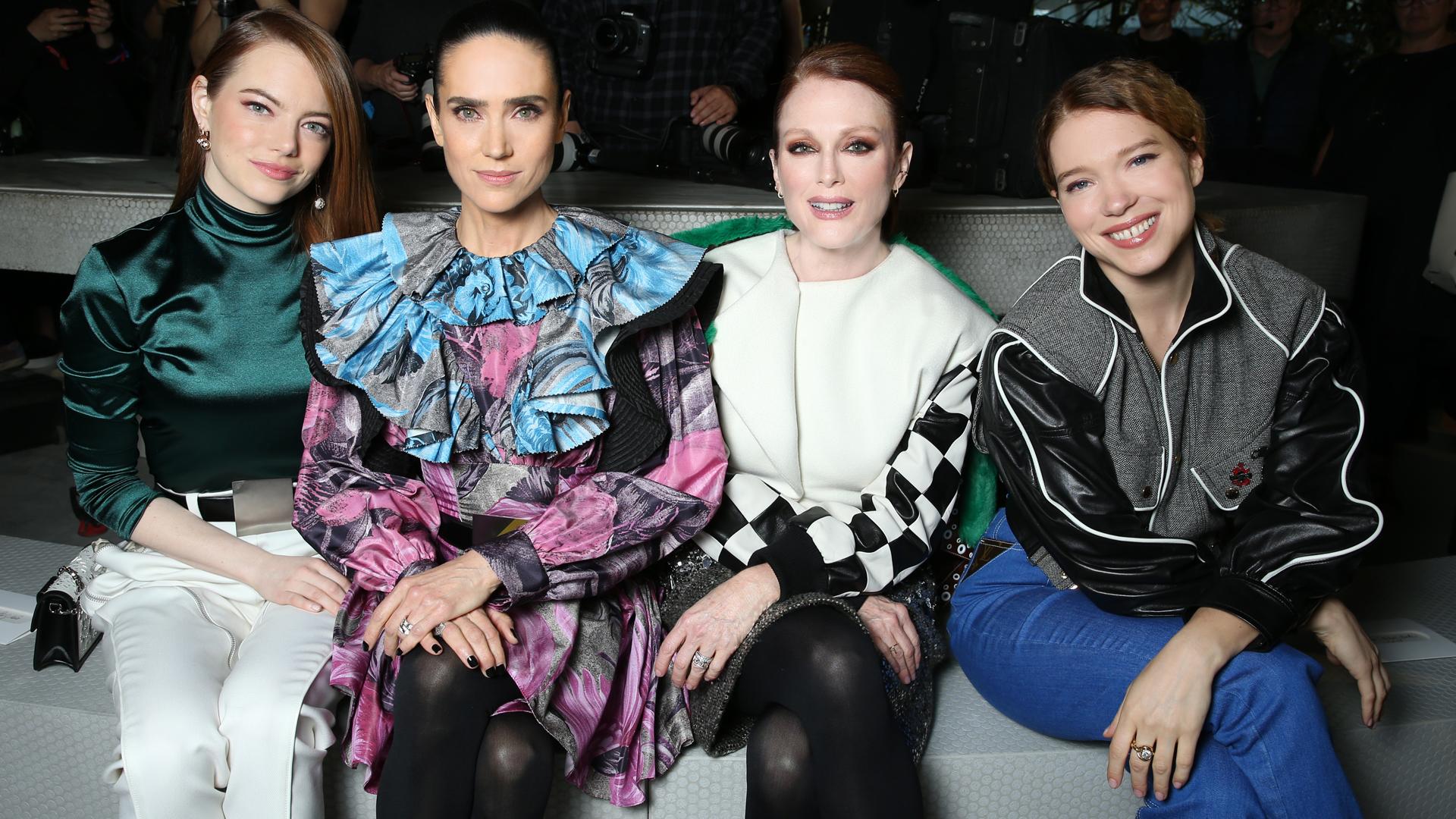 Emma Stone, Jennifer Connelly, Julianne Moore Y Lea_Seydoux en primera fila.