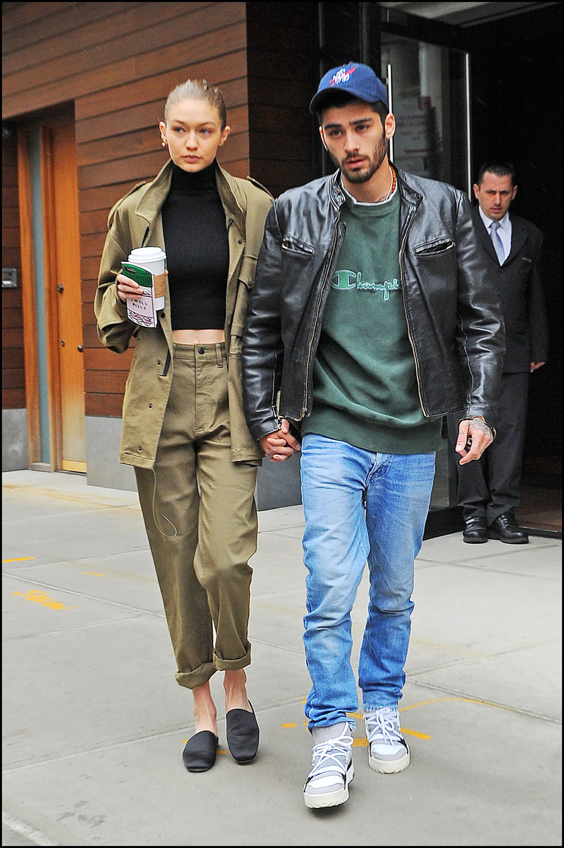 MANHATTAN, NY - APRIL 26, 2017: Gigi Hadid and Zayn Malik hold hands as they leave there Soho apartment on APRIL 26, 2017 in New York