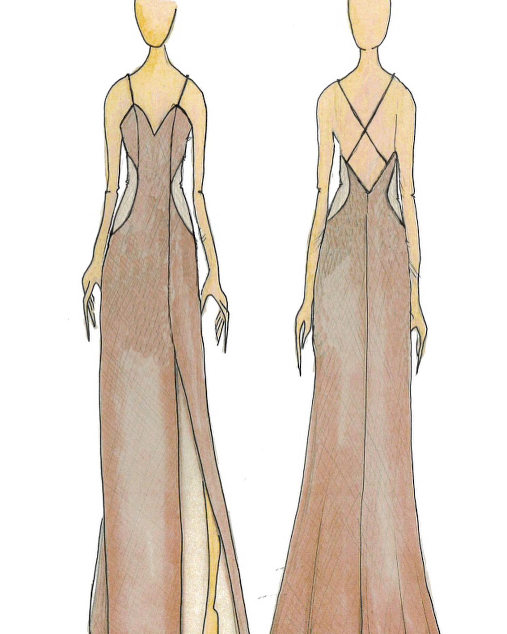 El figurín del vestidon de Dolores Promesas que llevó Elsa Pataky para la boda de su hermano.