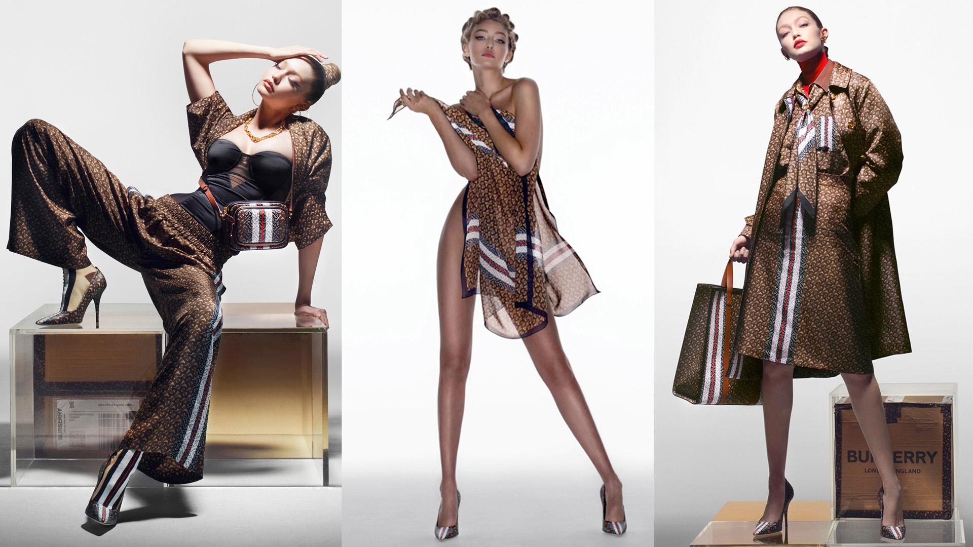 Gigi Hadid en la campaña de la colección Monograma de Burberry. La logomanía llevada al extremo.