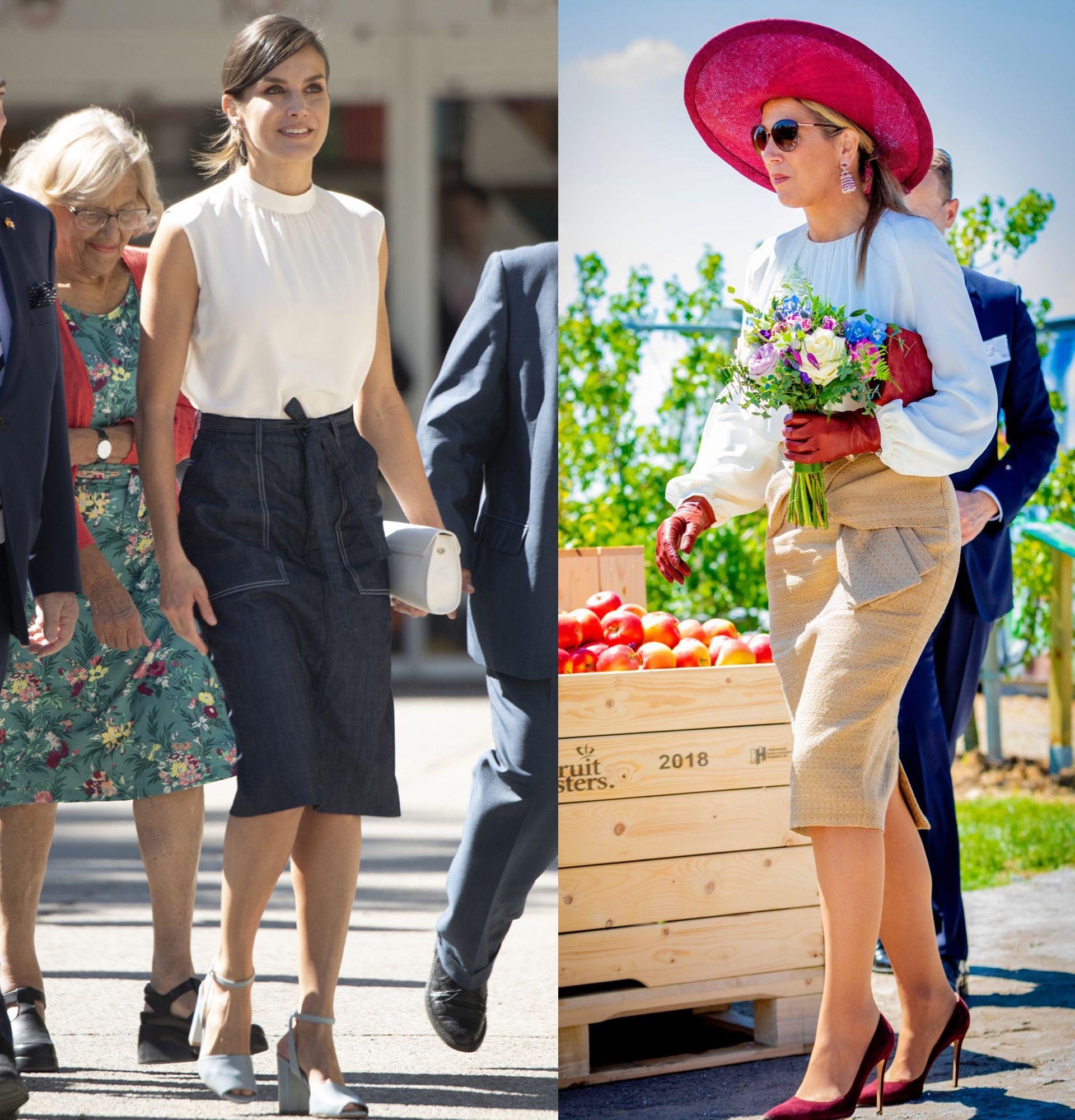 758f81c43 Coincidencia real: Letizia y Máxima combinaron blusa blanca con ...