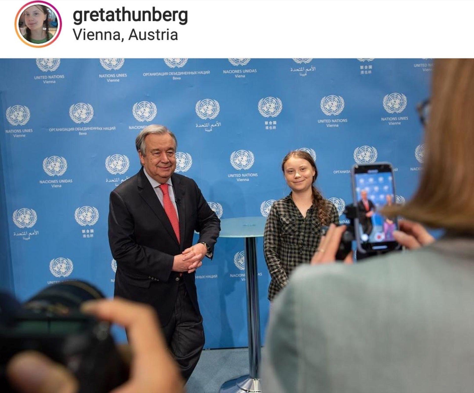 Junto al Secretario General de las Naciones Unidas António Guterres, Greta hace oír su voz.