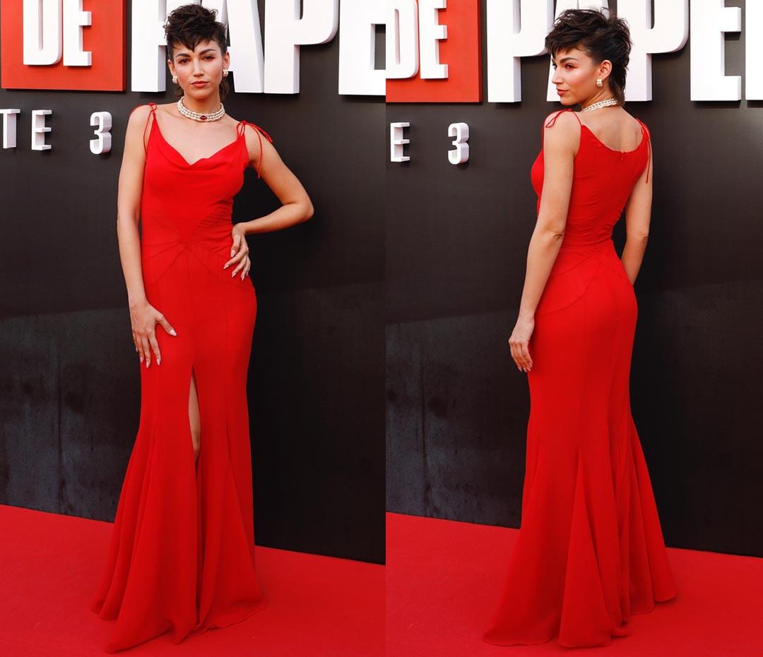 Úrsula Corberó convirtió un vestido lencero en un mega look de red carpet