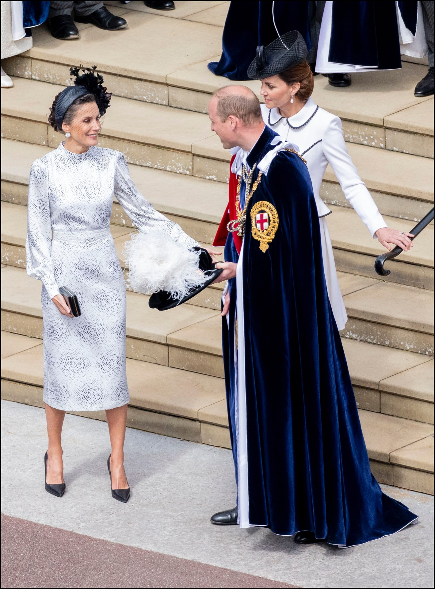 Letizia llevó un tocado de Cherubina, la misma etiqueta que el vestido.
