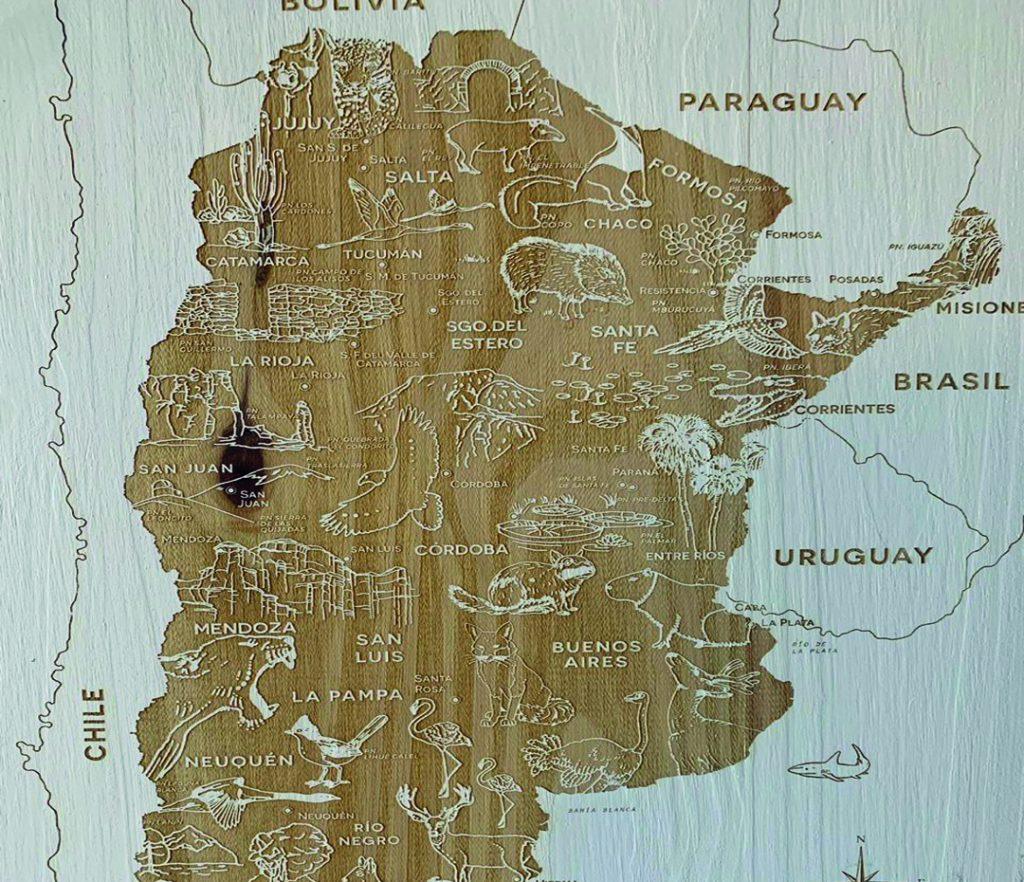 El mapa de Argentina, de Terral, incluye a las especies en peligro de extinción
