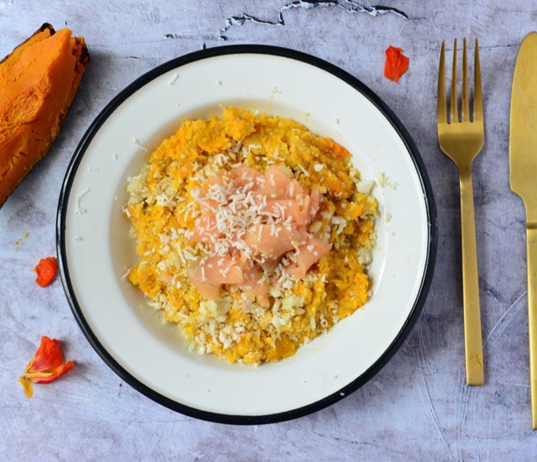 Hoy: risotto de coliflor y zapallo (una receta fitness y sabrosa)