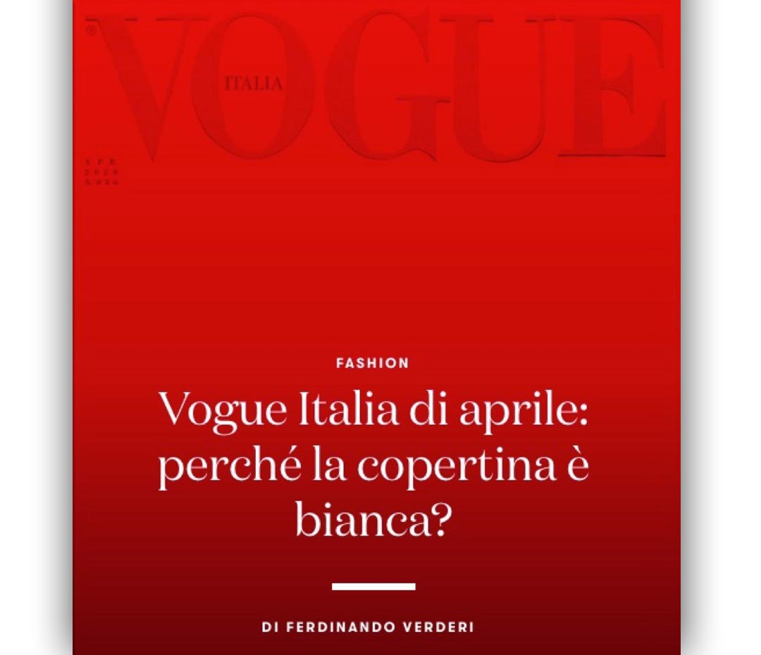 Vogue rinde homenaje a Italia con una tapa blanca
