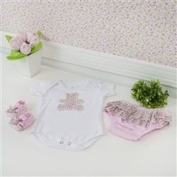 Kit Body e Short Saia Ursinha Rosa 3 a 6 Meses