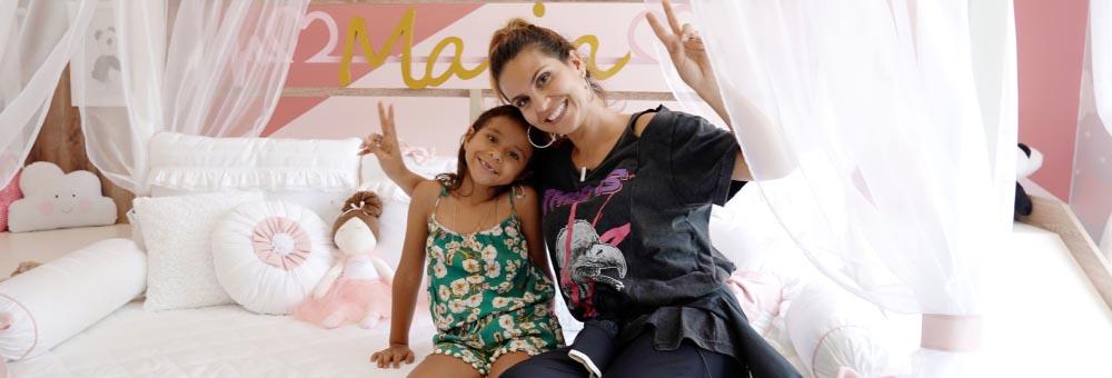 Maria Catherine, filha da cantora Aline Barros, amou seu novo quarto!