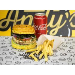 COMBO - Vintage + Fritas ou Onion Rings + Refrigerante lata ou Suco Lata Andys Fine Burgers