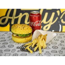 Andys Fine Burgers web app COMBO - São Francisco + Fritas ou Onion Rings  + Refrigerante lata ou Suco Lata