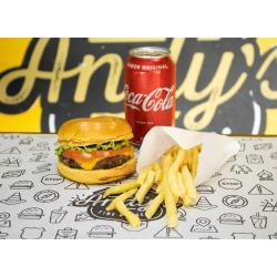 Andys Fine Burgers web app COMBO -  Cheesburguer Kids + Fritas + Refrigerante lata ou Suco Lata