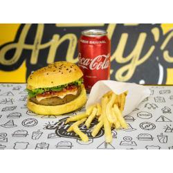 COMBO - Vegetariano + Fritas ou Onion Rings + Refrigerante lata ou Suco Lata Andys Fine Burgers