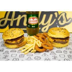 Andys Fine Burgers web app COMBO - 2 San Diego + Fritas Média ou Onion Rings (12unid)+  Refrigerante 600ml