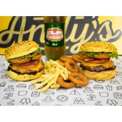 COMBO - 2 Mustang  + Fritas (220g) ou Onion Rings (12unid)  +  Refrigerante 600ml Andys Fine Burgers