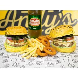 COMBO - 2 Vintage  + Fritas (220g) ou Onion Rings (12unid)  +  Refrigerante 600ml Andys Fine Burgers