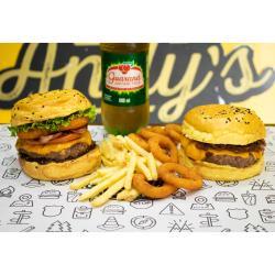 Andys Fine Burgers web app COMBO - 1 Mustang + 1 San Diego + Fritas Média ou Onion Rings (12unid) +  Refrigerante 600ml