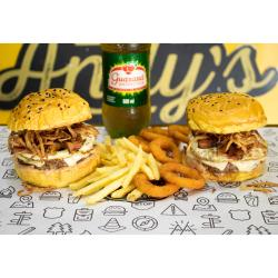 COMBO - 2 Andys Classico  + Fritas (220g) ou Onion Rings (12unid)  +  Refrigerante 600ml Cópia Andys Fine Burgers
