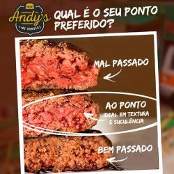 Visualize os pontos de carne Andys Fine Burgers