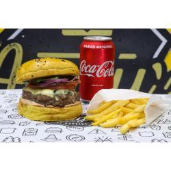 Andys Fine Burgers web app COMBO - Oklahoma + Fritas ou Onion Rings + Refrigerante lata ou Suco Lata