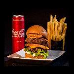 BILLY BURGER Delivery web app Pepperoni Burger + Fritas + Coca lata