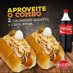 CARLOS JR LANCHES web app 02 CACHORROS QUENTES + COCA COLA 500ML