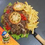 Picanha acebolada com fritas Come Lanches