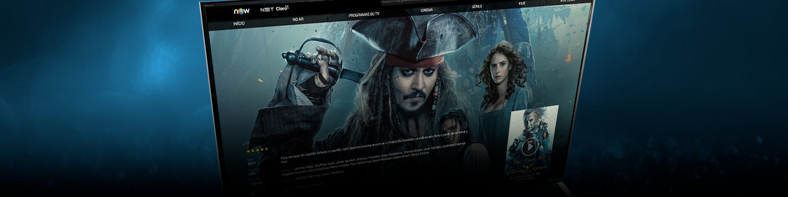 Piratas do caribe no Now online