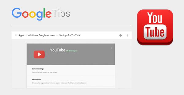 Consola del administrador para restringir el contenido de YouTube