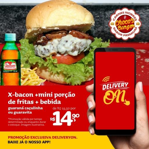 X Bacon + Mini Porção de Batata Frita + Guaraná Caçulinha