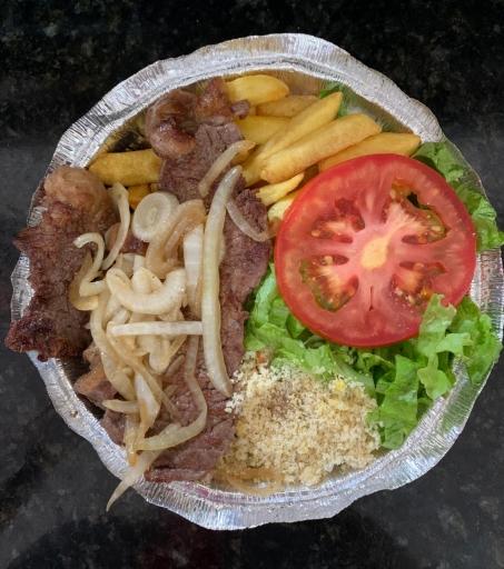 Contra File  Acebolado Arroz Feijão Farofa Fritas Salada