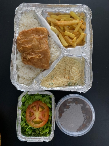 Peixe Frito Ex - Arroz, Feijão, Farofa, Salada e Fritas