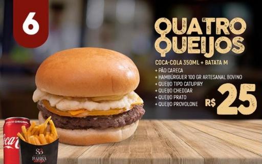 06- Quatro Queijos + Refri 350 ML + Batata M