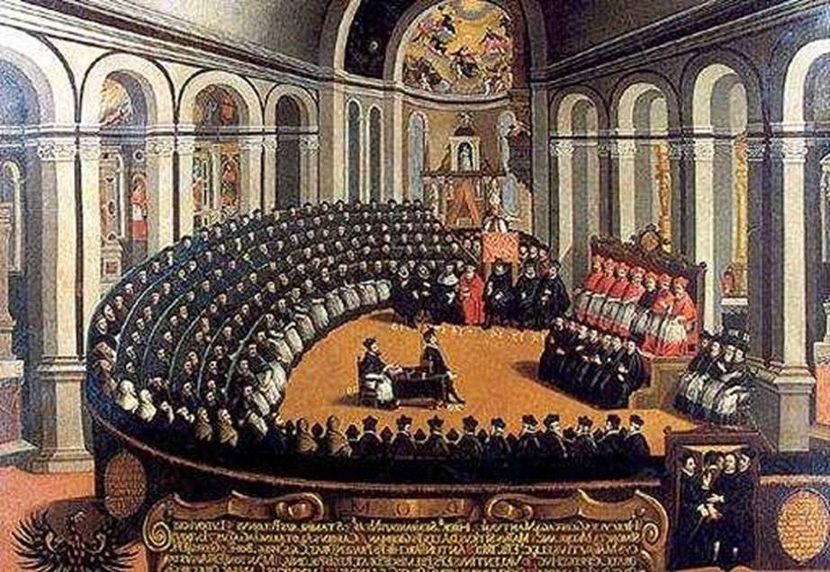 Pintura sobre O Concílio de Trento, ou também conhecido como Reforma Católica.
