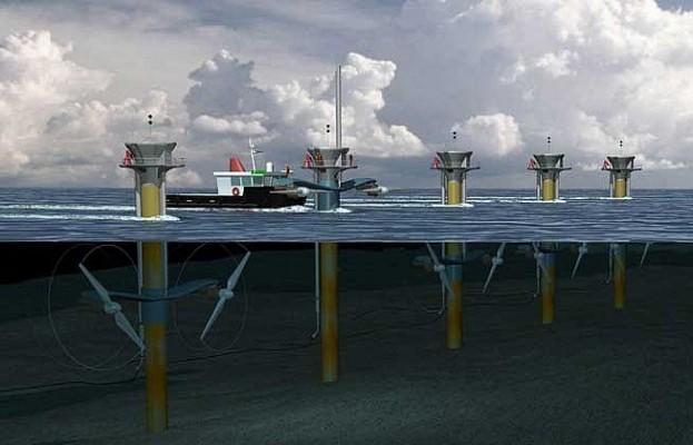 As grandes turbinas das usinas que se utilizam da energia de maremotriz