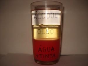 Esta figura mostra a diferença de densidade entre o álcool, o óleo e a água + tinta