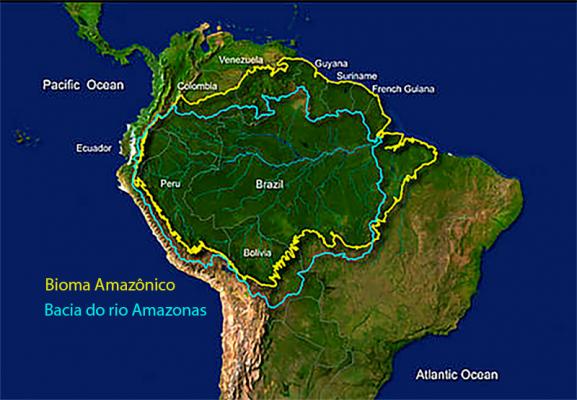Delimitação da bacia hidrográfica do rio Amazonas e do bioma amazônico.