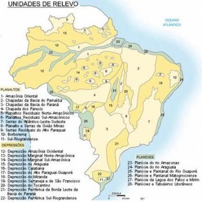 Mapa do relevo brasileiro segundo a classificação de Jurandyr Ross