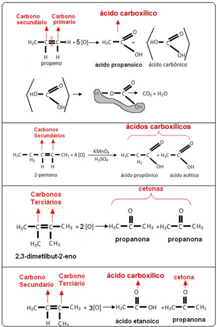 Oxidação enérgica em alcenos – Produtos