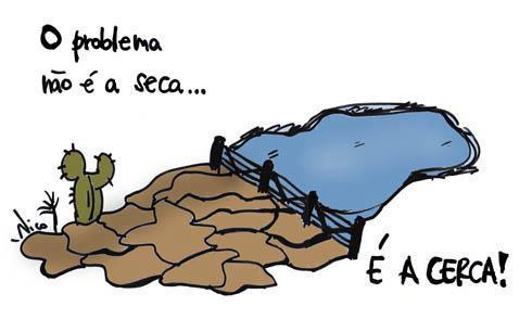 Desenho que faz referência à seca no Nordeste.