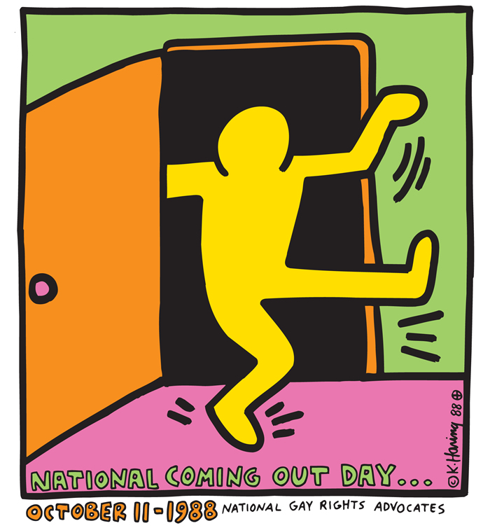"Logo para o ""National Coming Out Day"" (Dia Nacional de Sair do Armário, feito por Keith Haring"