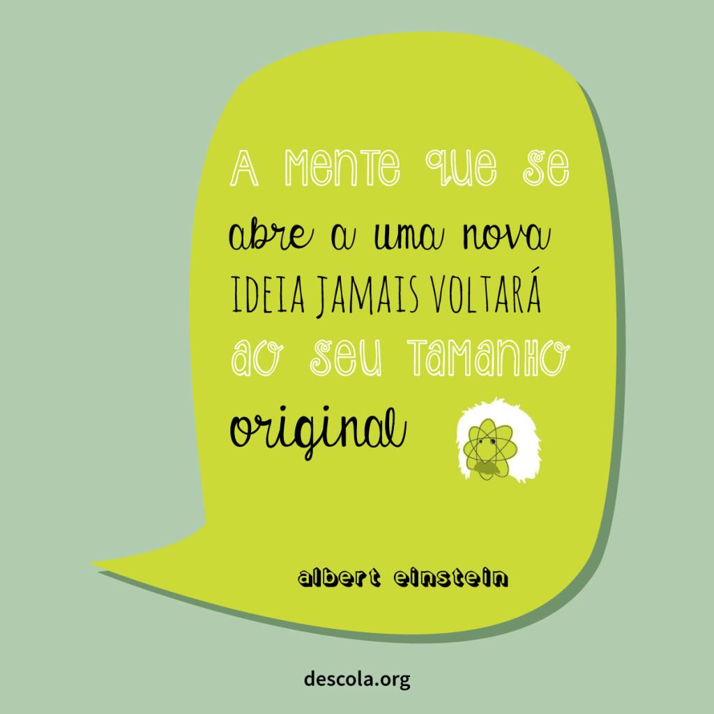a mente que se abre a uma nova ideia jamais voltará ao sei tamanho original - Albert Einstein
