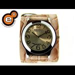 Relógio EF bracelete feminino em couro croco rosa